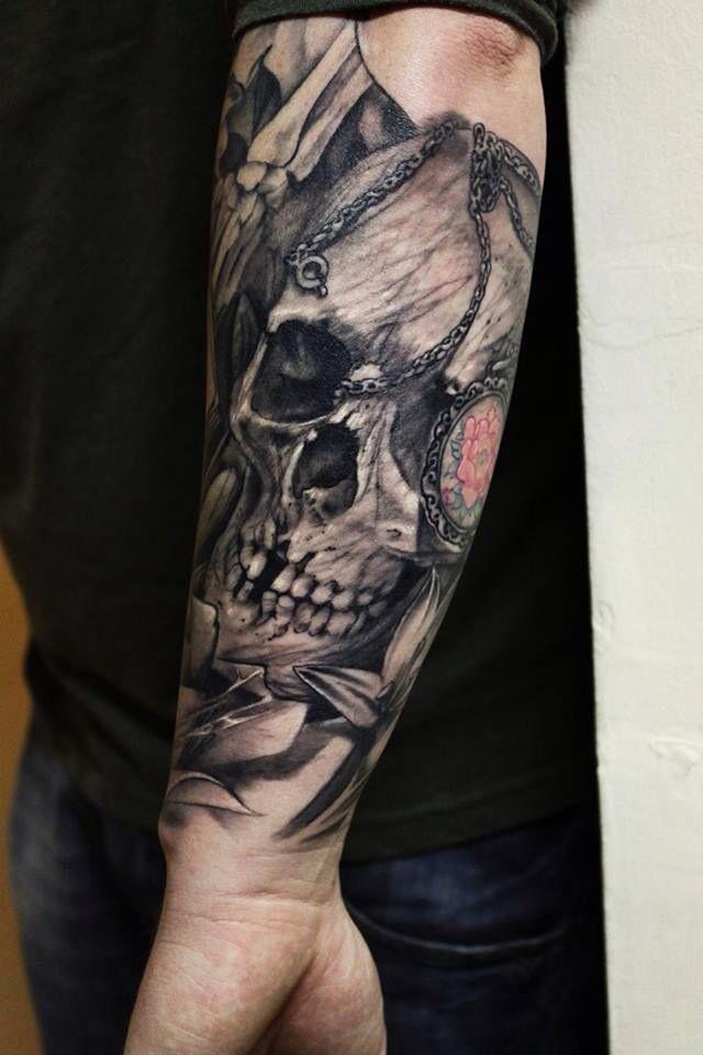 skull forearm piece by john lewis of life death tattoos skull pinterest life death. Black Bedroom Furniture Sets. Home Design Ideas