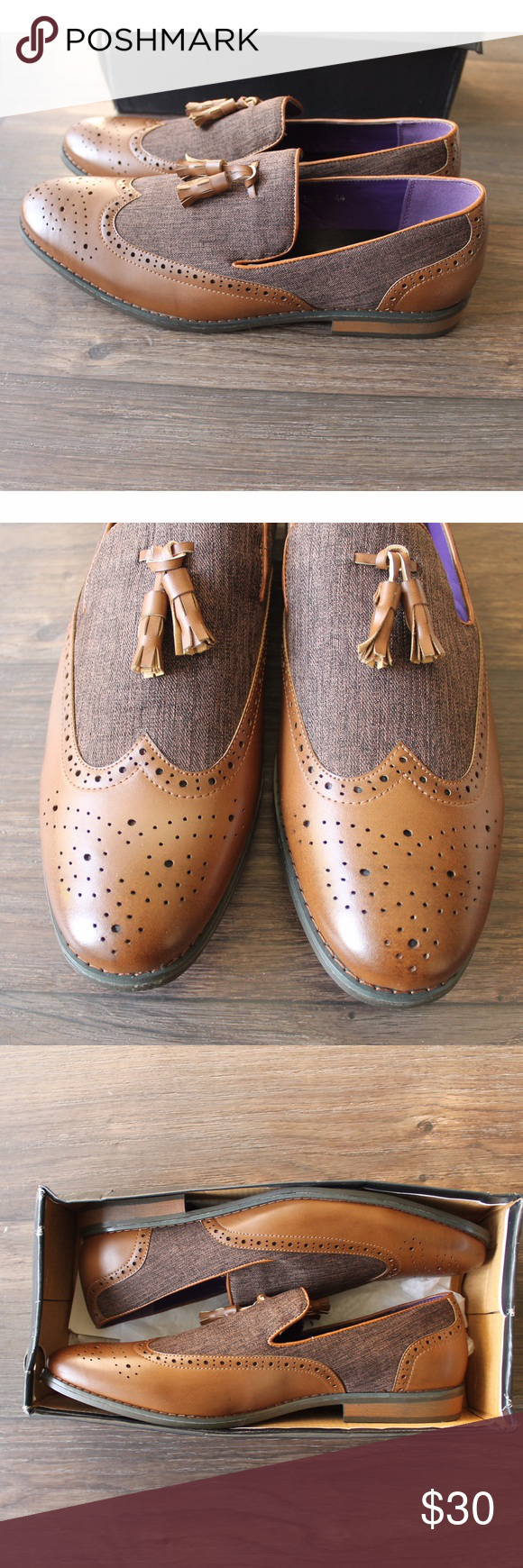 New In Box Oxfords Tassel front oxford dress shoes. Wingtip balmoral with perforated brogue front. Two tones- cognac and brown woven cloth. Size 40. Never worn Shoes Oxfords & Derbys