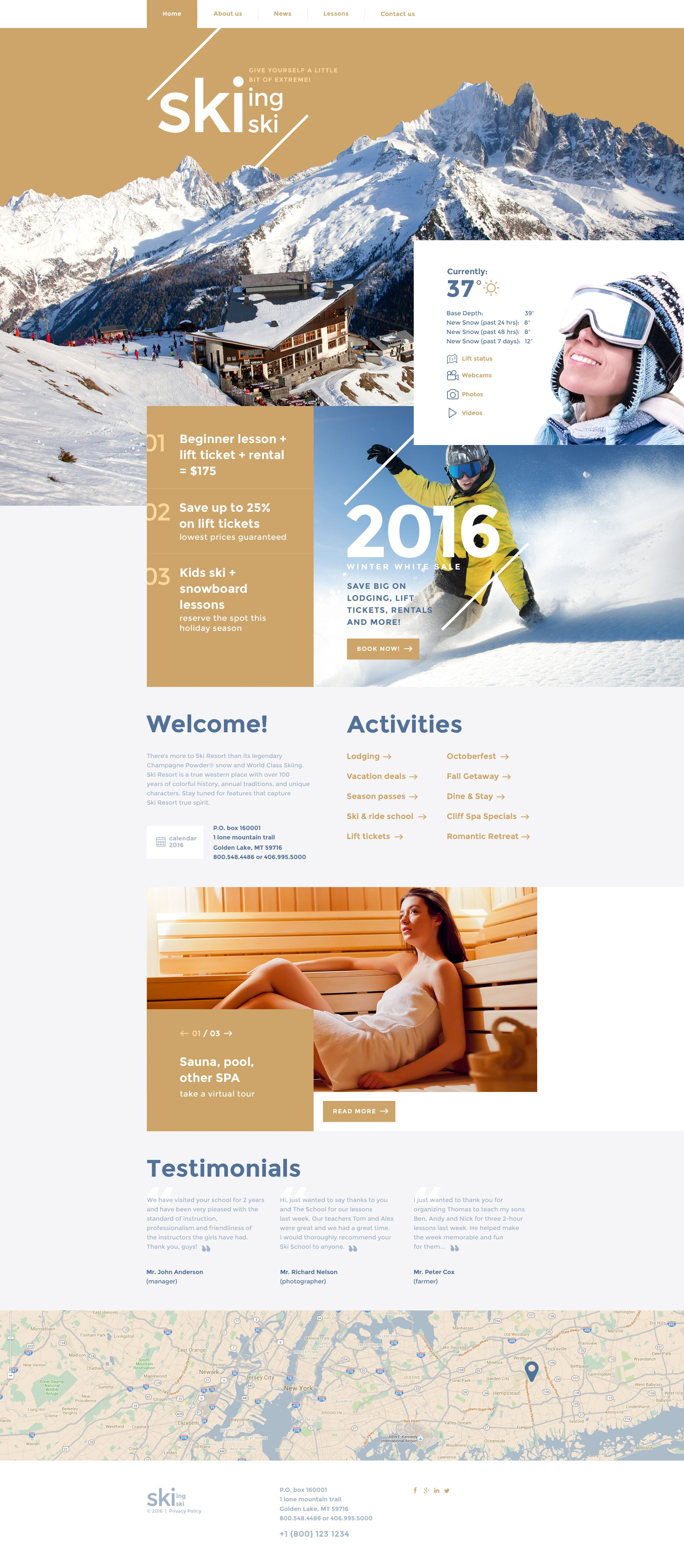 Skiing Website Template Template Resorts And Website - Brochure website templates