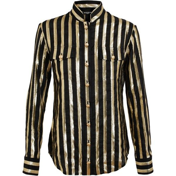 BALMAIN Striped Silk Lame Shirt ($1,491) found on Polyvore