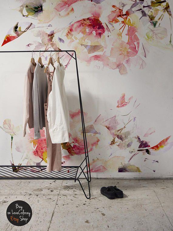 Frühlings Blumen Abnehmbare Tapeten | Lösbaren Tapeten | Rosa Aquarell  Wandbild  Schälen Und Aufkleben  246x246cm #1