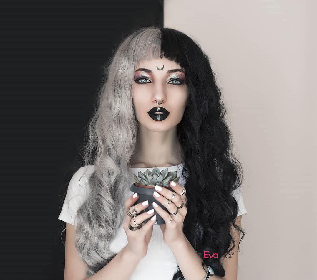 Gothic Half Black And Half Grey Water Wavy Quite Long Synthetic Lace Front Wig Sku Ns Hair Color For Black Hair Half And Half Hair Synthetic Lace Front Wigs