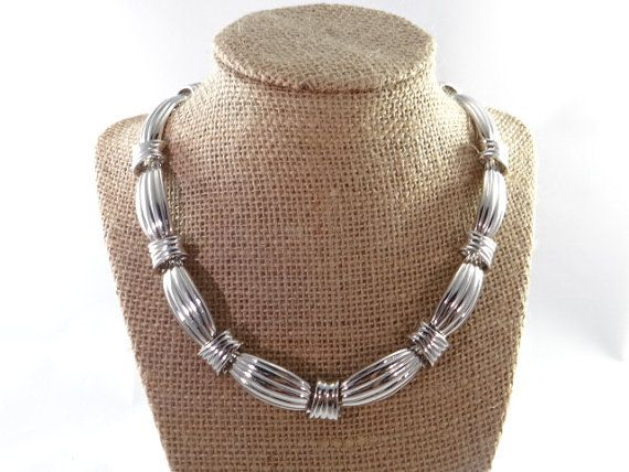 Silver Vintage Chunky Link Necklace Chunky by RusticWayTreasures