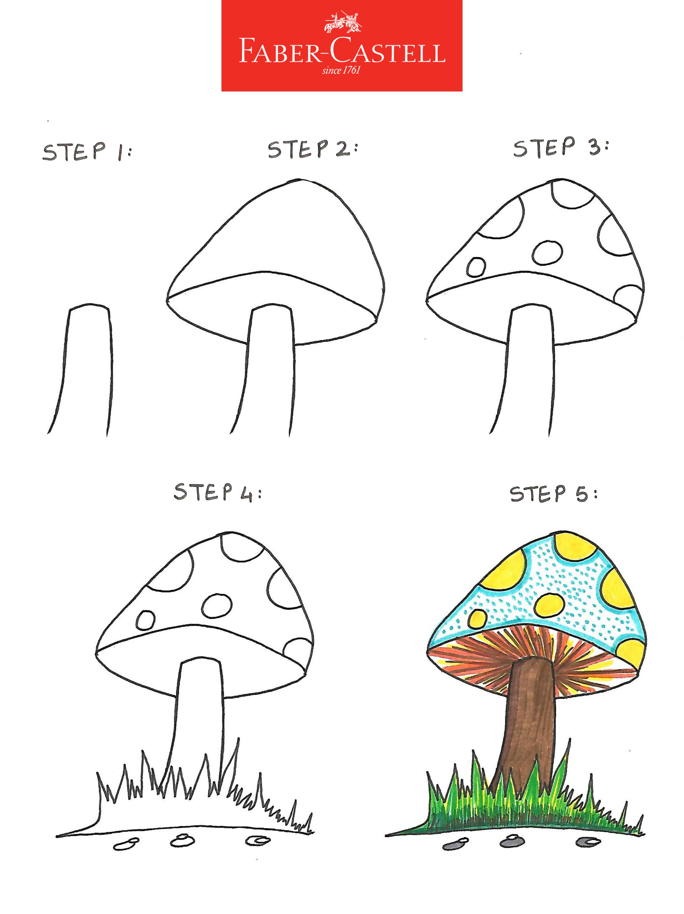 How to draw a mushroom   Mushroom drawing, Vegetable drawing ...