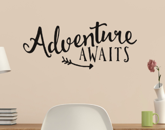 Adventure Awaits With Arrow Vinyl Wall Quote Sticker Wall Decal