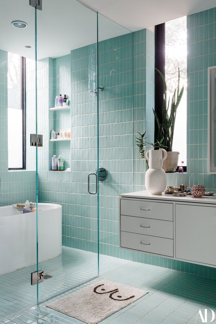 Light Teal Bathroom with Floating Sink Counter | Aqua ...