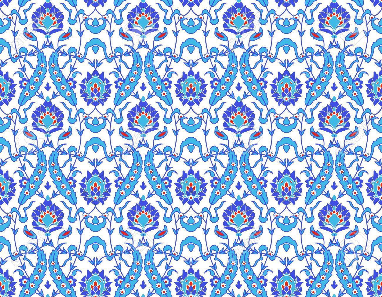 13906275 Vector Of Islamic Flower Pattern On White Stock