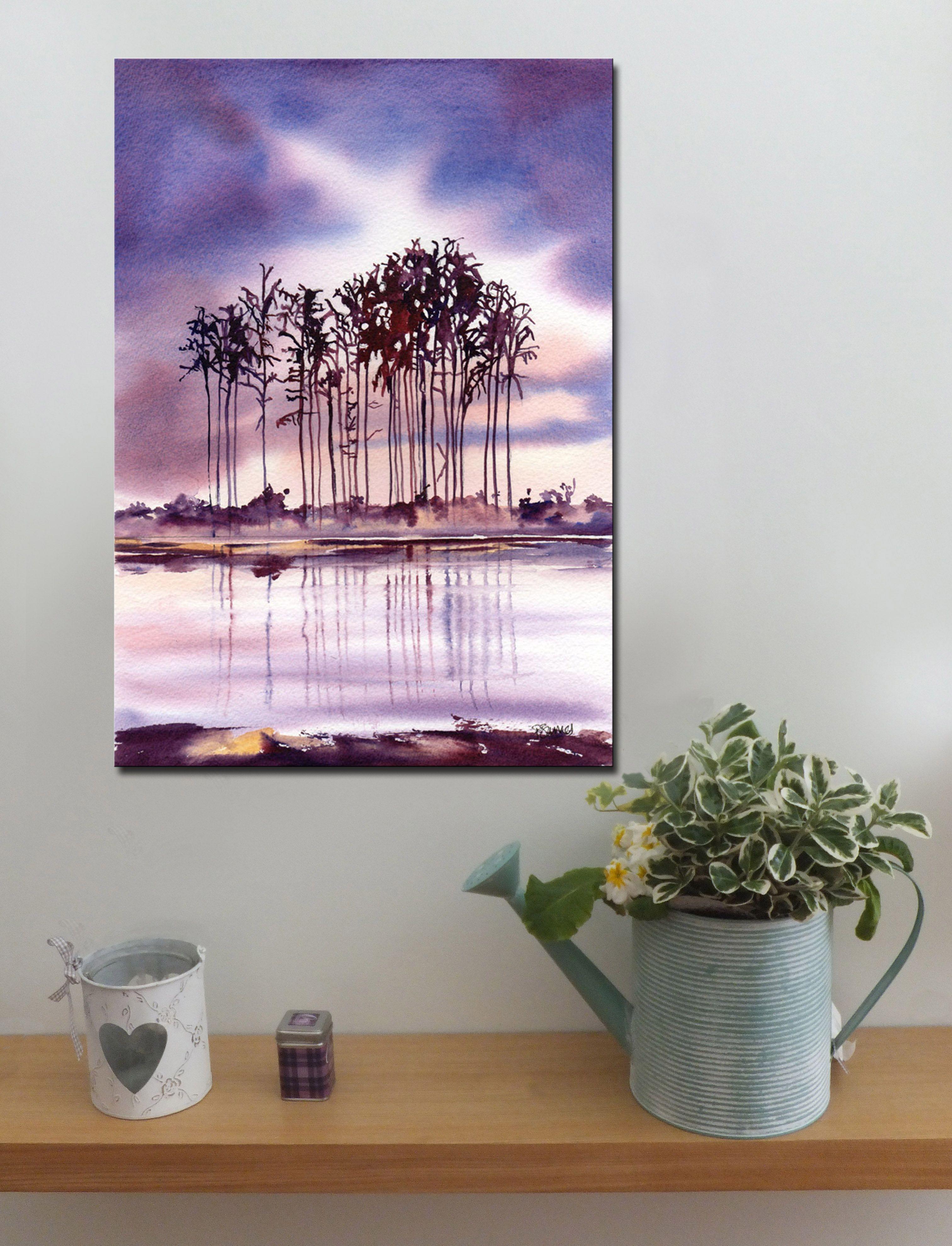 LOCH AND CONIFERS http://www.splashyartystory.com/shop/art-prints/scottish-loch-and-trees/