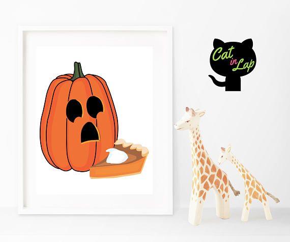 Jack-o\u0027-lantern Horrified by Pumpkin Pie Halloween Print - Digital - print halloween decorations