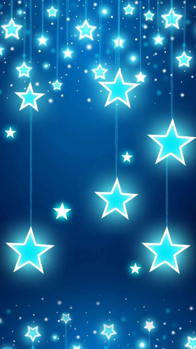 Blue Stars Glitter Sparkle Glow Phone Wallpaper Background