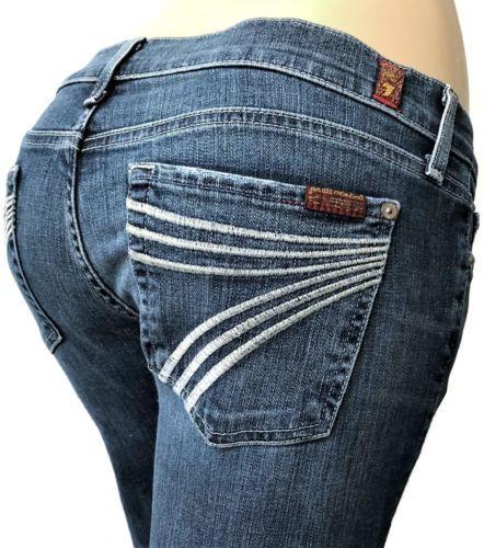 7-For-All-Mankind-Dojo-Womens-Jeans-Size-30-x-31-Wide-Leg-Dark-Blue-Denim