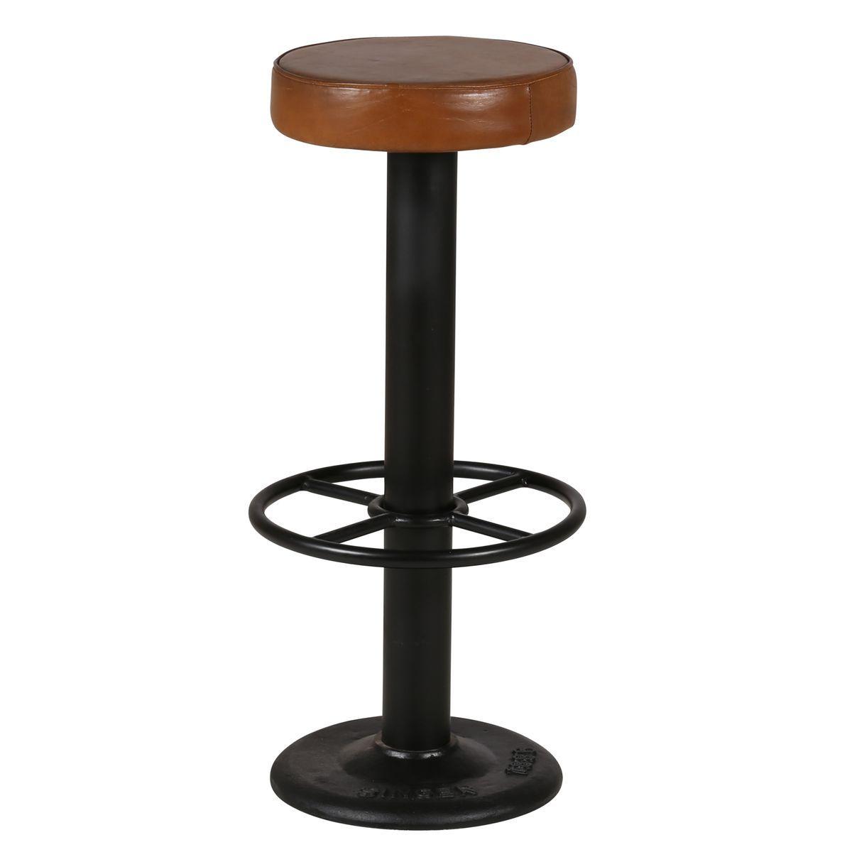 2x Tabouret De Bar Cuir Et Metal Noir Pub Marron Inwood La Redoute Mobile Mesas De Comedor Comedores