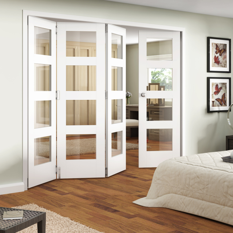Jeldwen Shaker Primed 4 Light Internal Folding Doors | Home Decor ...