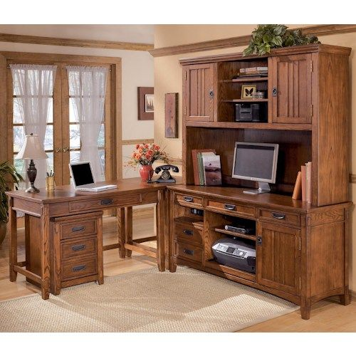Ashley Furniture Cross Island 5 Piece L-Shape Desk Unit with Hutch ...