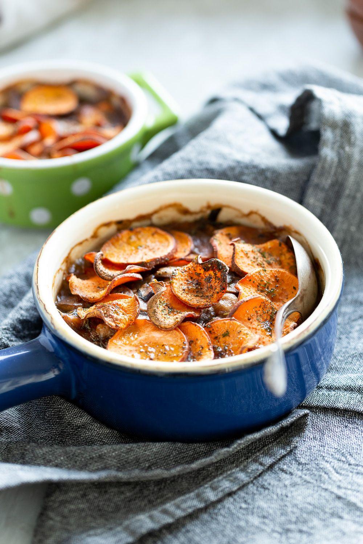 Vegan Mushroom Pot Pie With Sweet Potato Crust Vegan Richa Recipe Sweet Potato Toppings Potato Toppings Stuffed Mushrooms