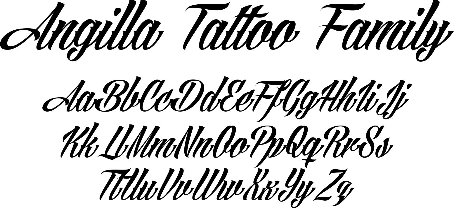 Angilla Tattoo Ia True Type Font And Is Favorite Among Those Who Want A Flavor