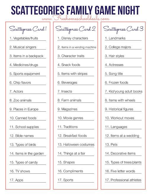 Free Scattegories Game Printable Instant Download Family Reunion Games Family Games Family Game Night