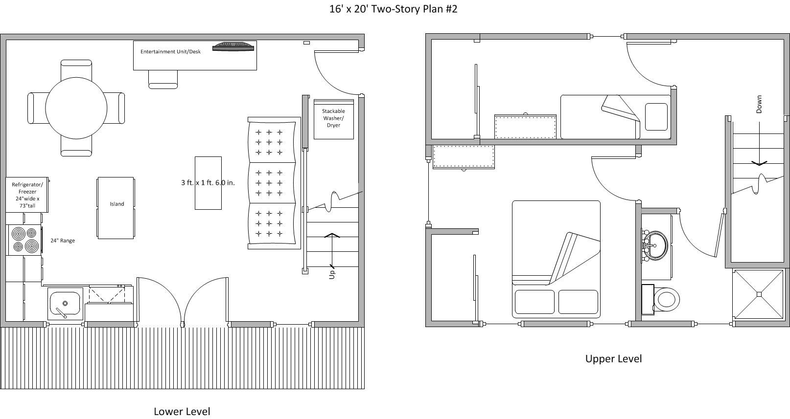 16 X 20 Plan 2 Tiny House Plans Tiny House Floor Plans House Plans