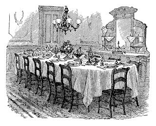 Antique Images Vintage Graphic Of Victorian Dining Table Black And White Illustration Of Decora Victorian Table Setting Victorian Table Dining Room Victorian