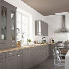 cuisine gris taupe esprit bistrot http www m. Black Bedroom Furniture Sets. Home Design Ideas