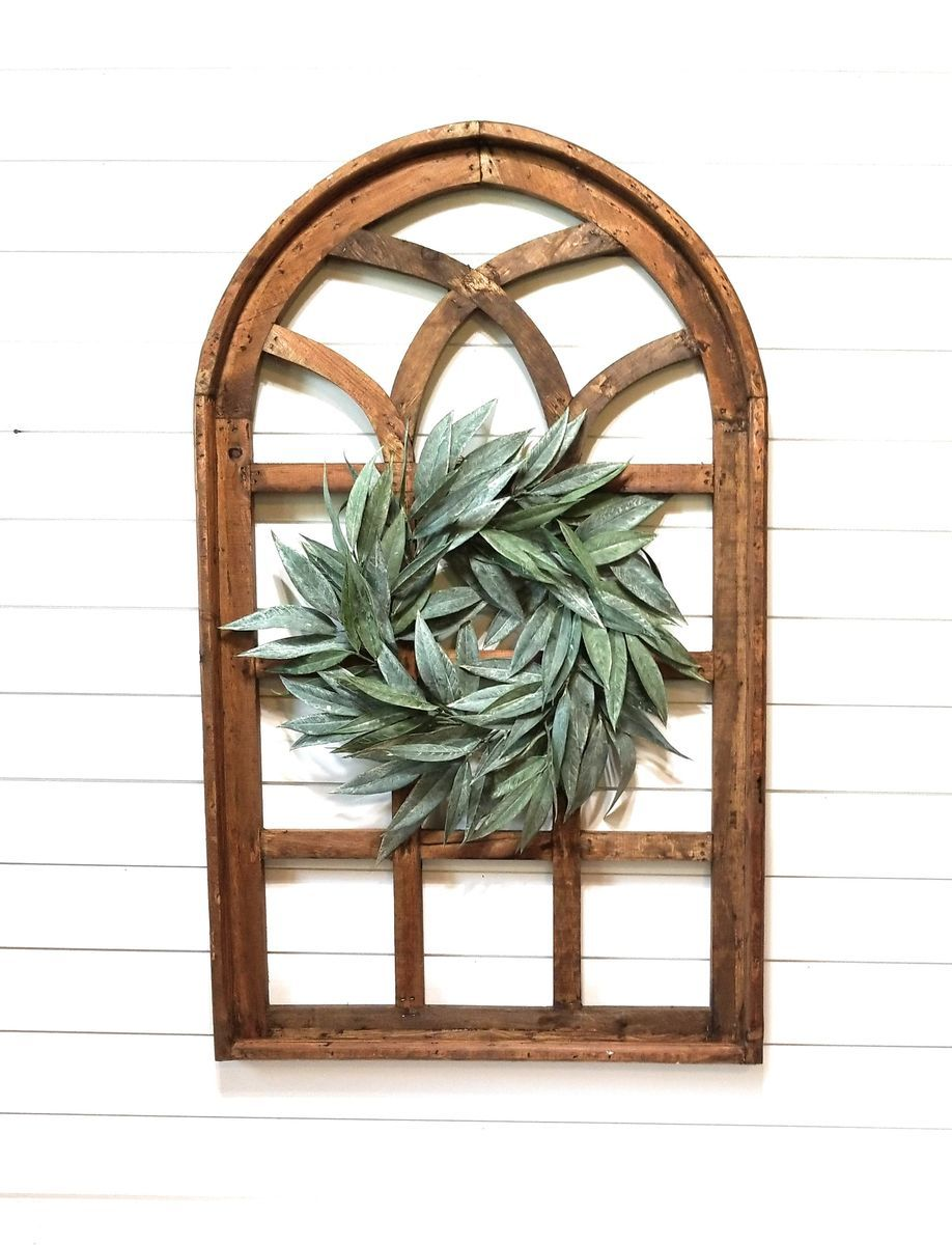 Meet The Paradise Fields Window In Farmhouse Brown A Tall Farmhouse Cathedral Style Wall Decor Window Wood Window Frame Window Frame Decor Arched Wall Decor