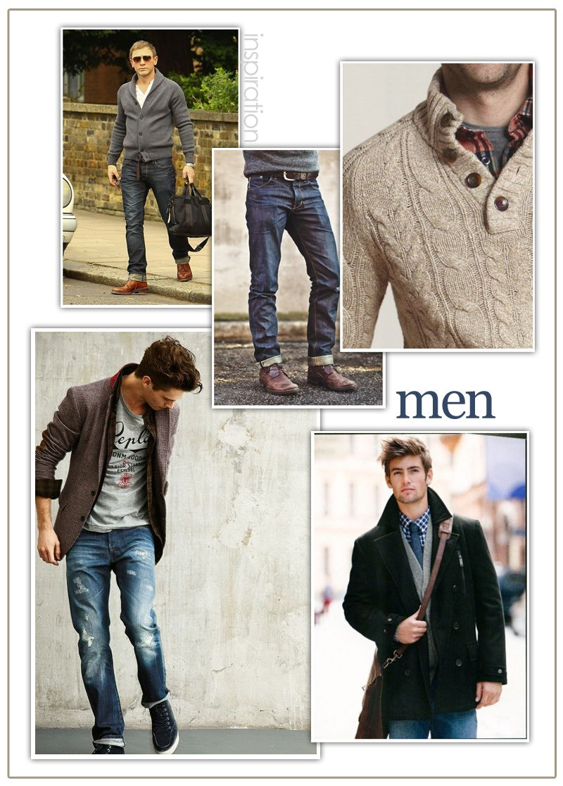 What to wear men always bring options sweater dark denim jacket