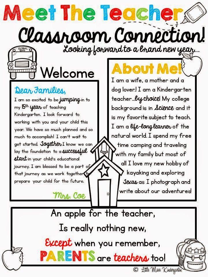 Pin by Rebecca P on PreK Newsletters Meet the teacher, Teacher