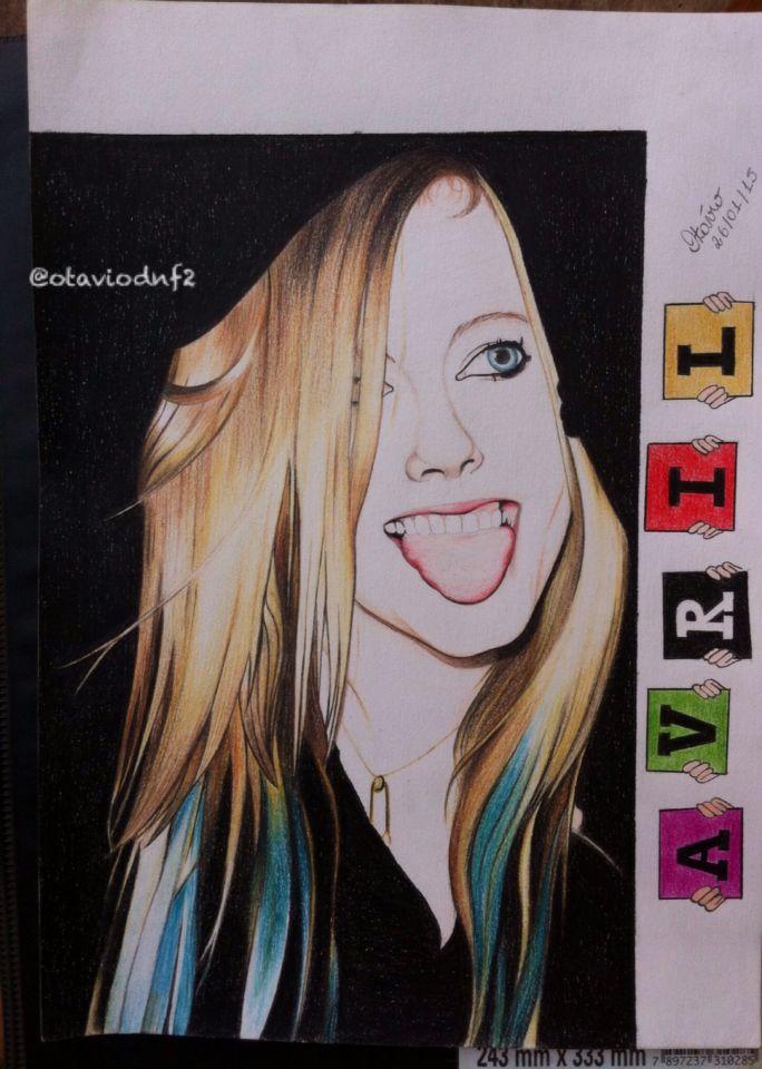 Não sou bom com desenhos humanos, q dirá pintá-los! Costumo mais desenhar Animes! Mas gostei da foto e quis tentar!   #sóumfã #Avril