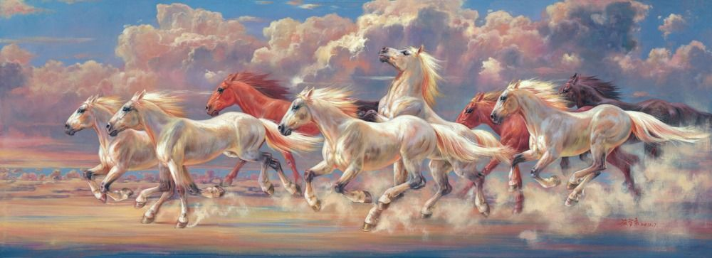 Free Shipping Eight Horses Running Canvas Art Wall ...