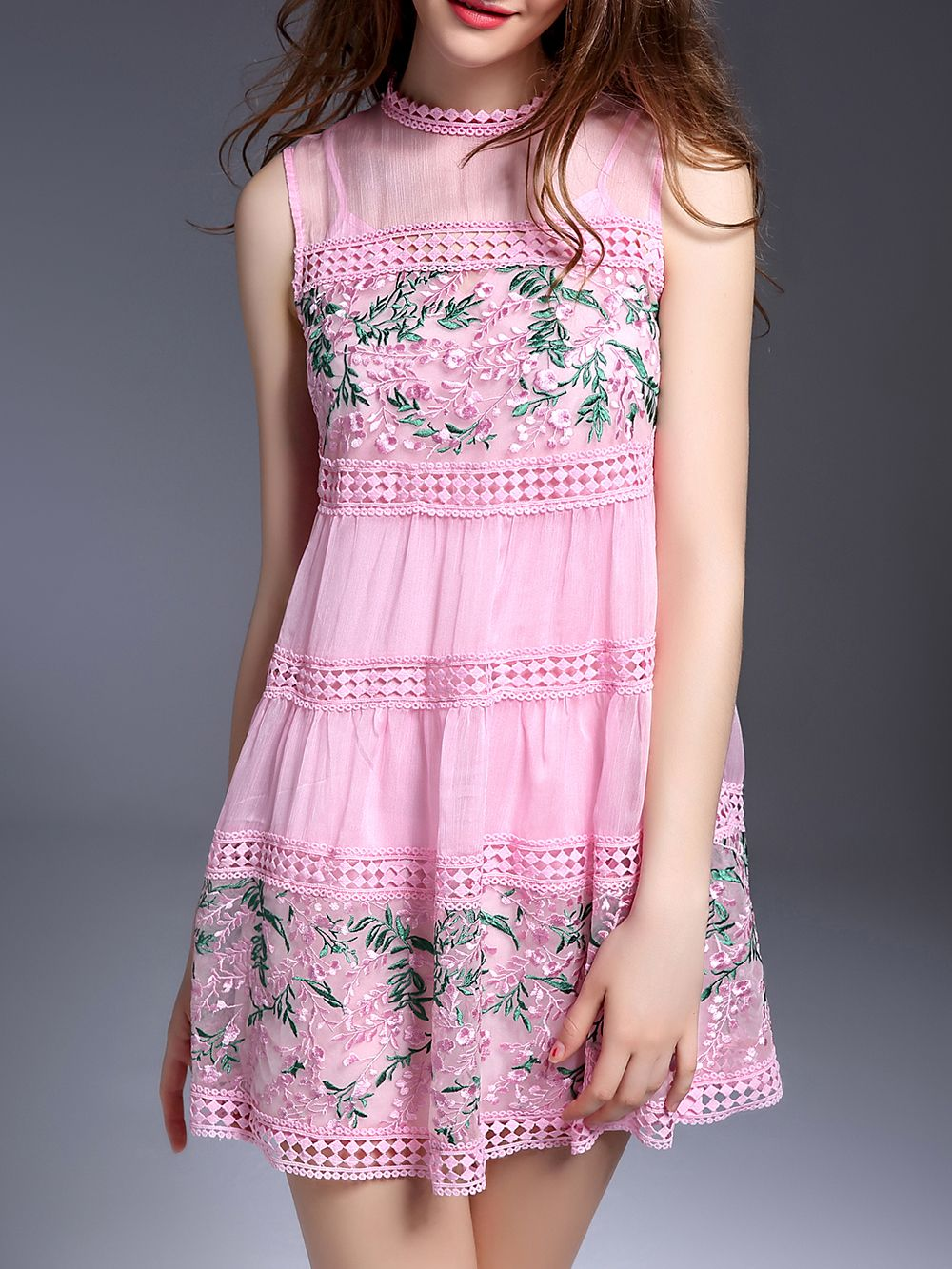 ¡Cómpralo ya!. Pink Organza Embroidered Hollow Shift Dress. Pink Collar Sleeveless Polyester Shift Short Embroidery Fabric has no stretch Summer Vintage Day Dresses. , vestidoinformal, casual, informales, informal, day, kleidcasual, vestidoinformal, robeinformelle, vestitoinformale, día. Vestido informal  de mujer color rosa de SheIn.