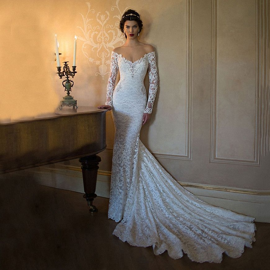 Long Sleeve Wedding Dress White Lace Mermaid Berta Bridal Boho Sexy