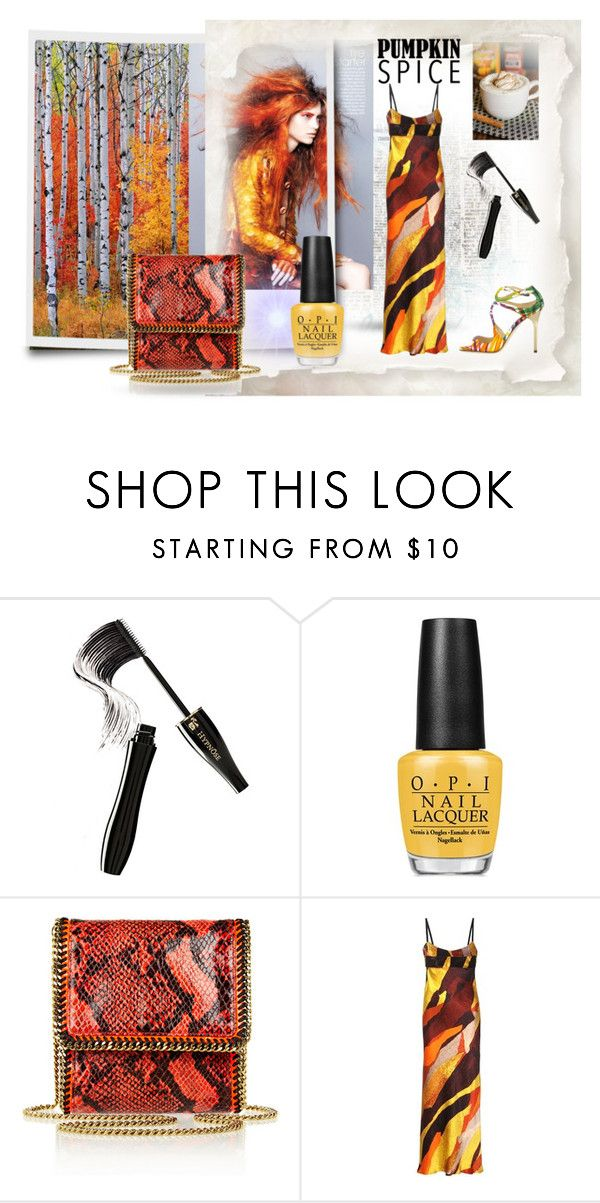"""""""Pumpkin Spice"""" by neverboring ❤ liked on Polyvore featuring Lancôme, OPI, STELLA McCARTNEY, Acne Studios and Jimmy Choo"""