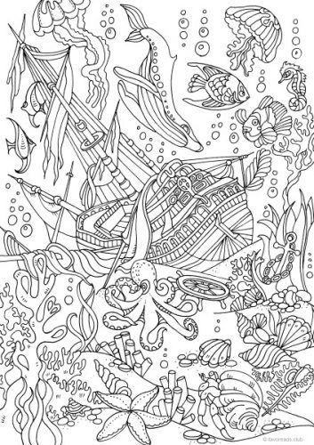 Ocean Life – Sunken Ship   doodles   Pinterest   Colores, Libros ...