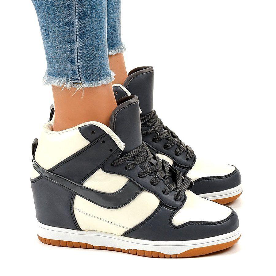 Bezowe Sneakersy Na Koturnie Sznurowane 0056 2 Bezowy Beige Sneakers Wedge Sneakers Sneakers