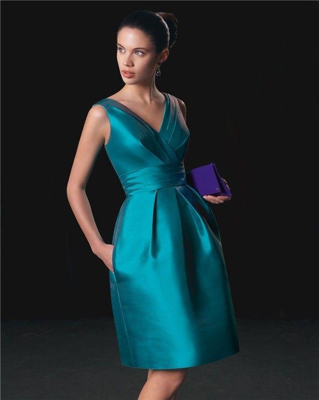 bd8cfa457 Vestido madrina corto azul turquesa Rosa Clará