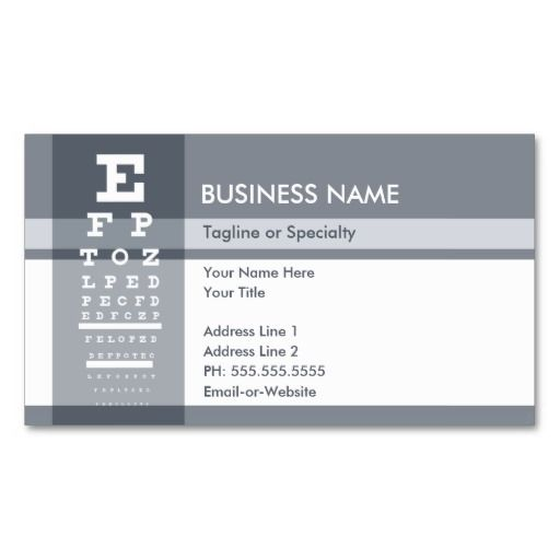 Professional eye chart business card Card templates, Business - eye chart template