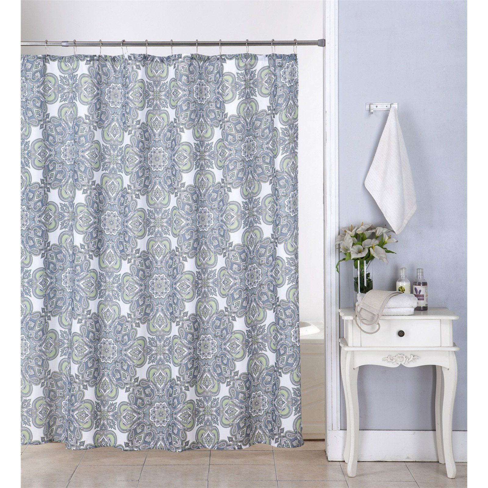 Kashi Home Amy Canvas Shower Curtain With Hooks Shower Curtain
