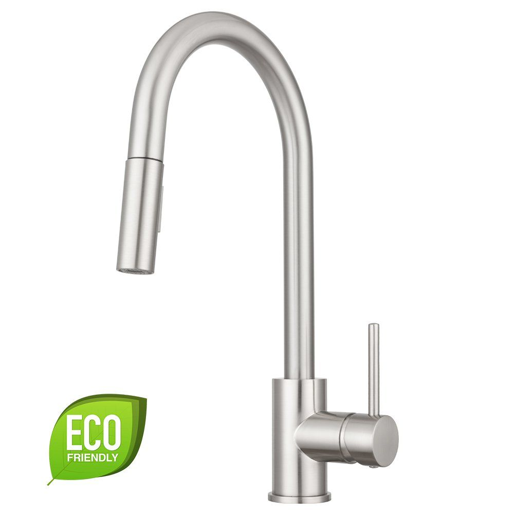Pacific Bay Bellevue Kitchen Faucet with In-Line Pull-Down Sprayer ...