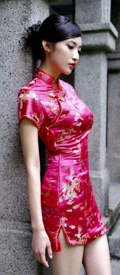 5d9c90a57 Mini satin qipao Chinese Kimono, Cheongsam Dress, China Girl, Satin  Dresses, Sexy