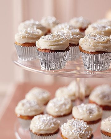 Vanilla cupcakes with a sprinkling of silver dust