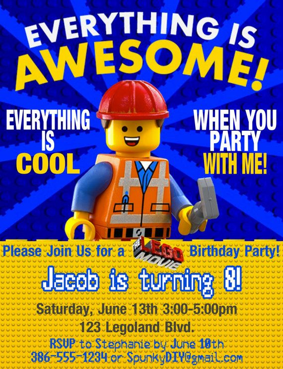 Lego Movie Emmet Birthday Invitation