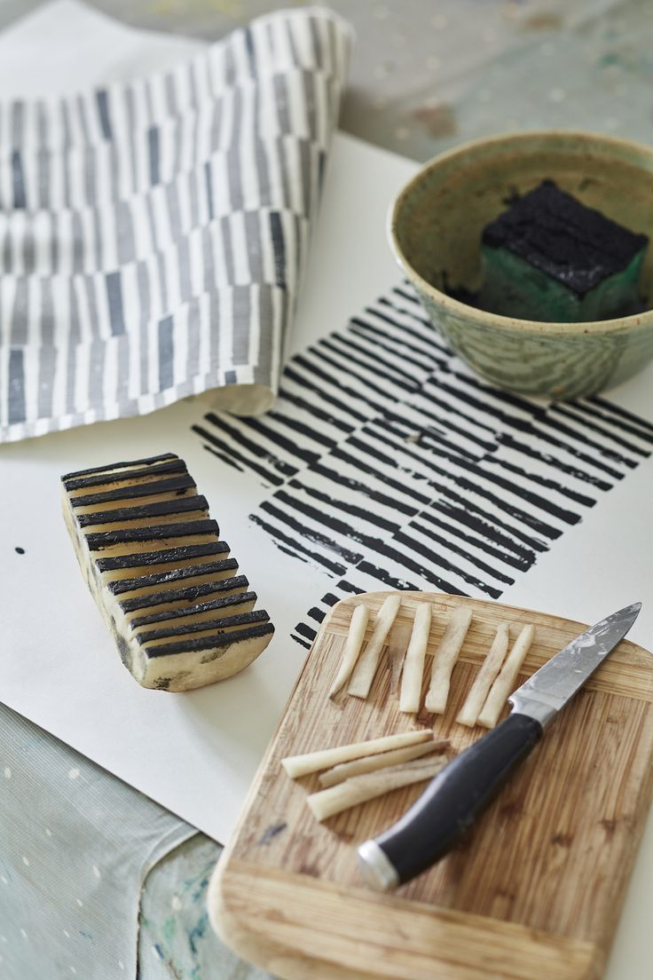 Vanessa Arbuthnott Launches The 'Artists' Collection' — Heart Home -  Potato print by Flora Arbuthnott – creating the 'Hand Printed Stripe' design.  - #arbuthnott #artists #collection #decorationdiy #diyDreamhouse #diyhomepictures #diykidroomideas #heart #home #launches #simplehomediy #vanessa