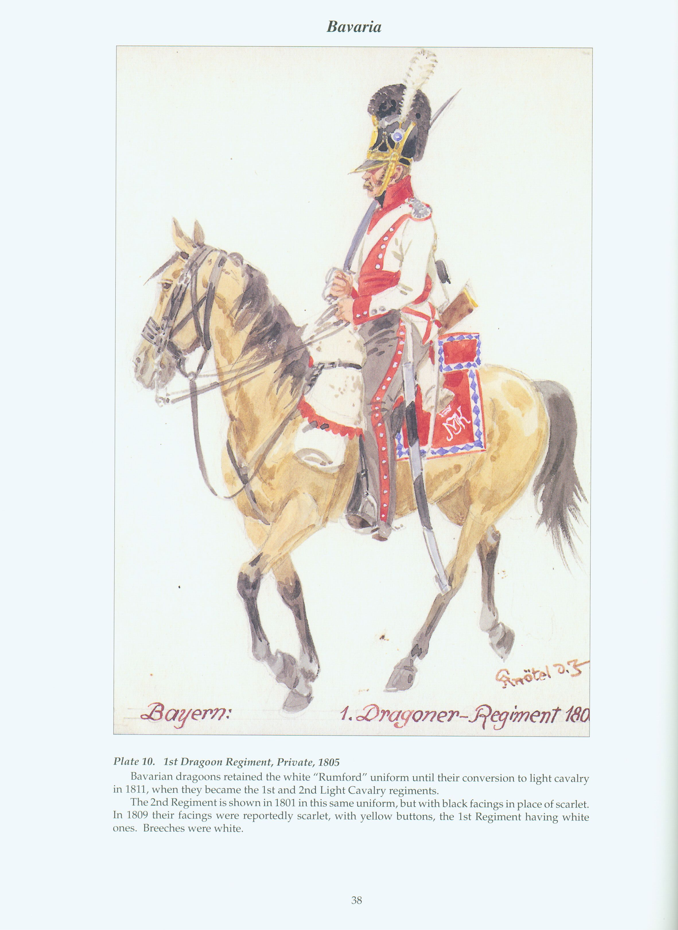 The Confederation of the Rhine - Bavaria: Plate 10. 1st Dragoon Regiment, Private, 1805