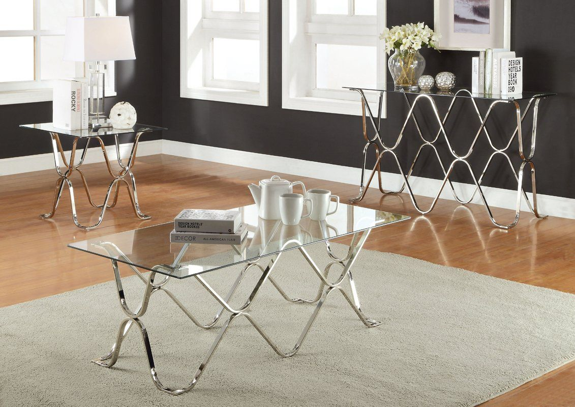 Arylide Coffee Table 3 piece coffee table set, Glass top