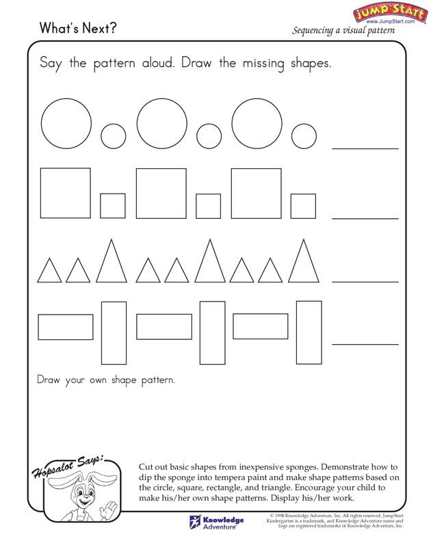 What S Next Learning Shapes And Patterns Jumpstart Pattern Worksheet Learning Shapes Kindergarten Worksheets