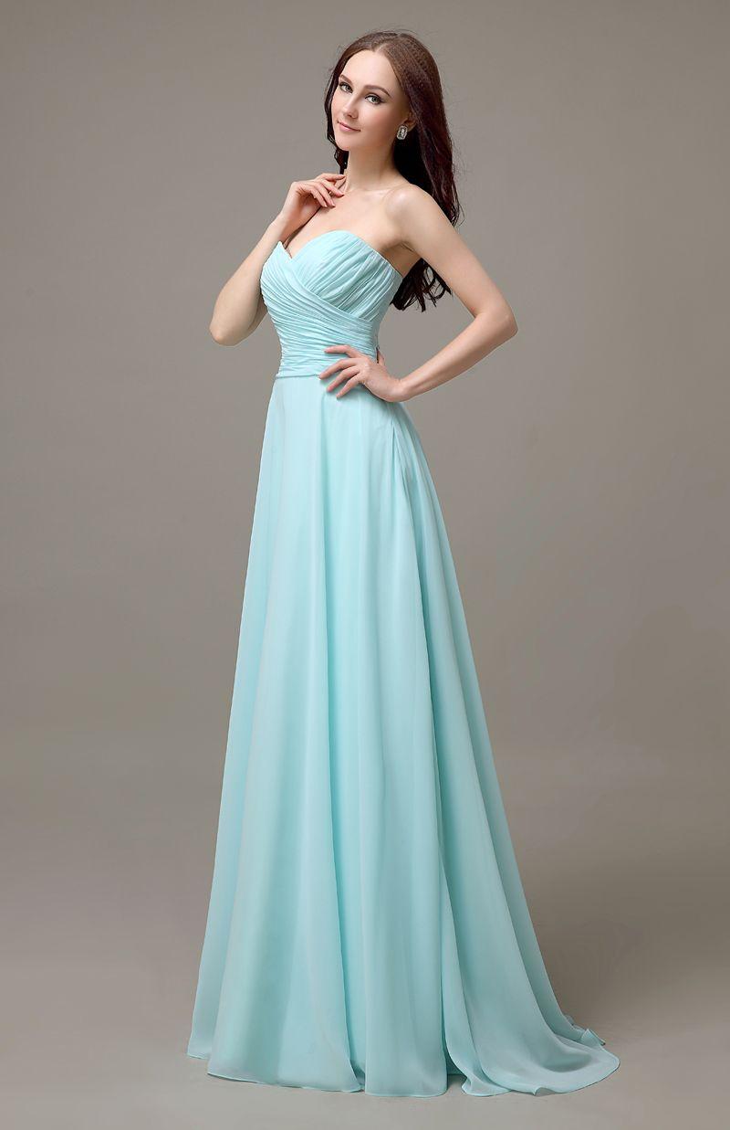 Click to Buy ucuc light blue long chiffon sweetheart cheap popular