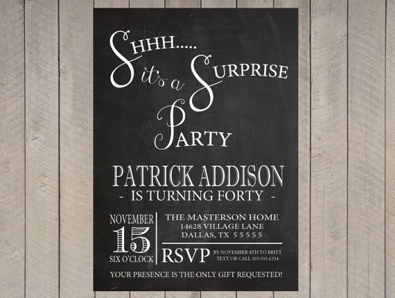 Chalkboard Adult Surprise Party Invitation Th Birthday Th