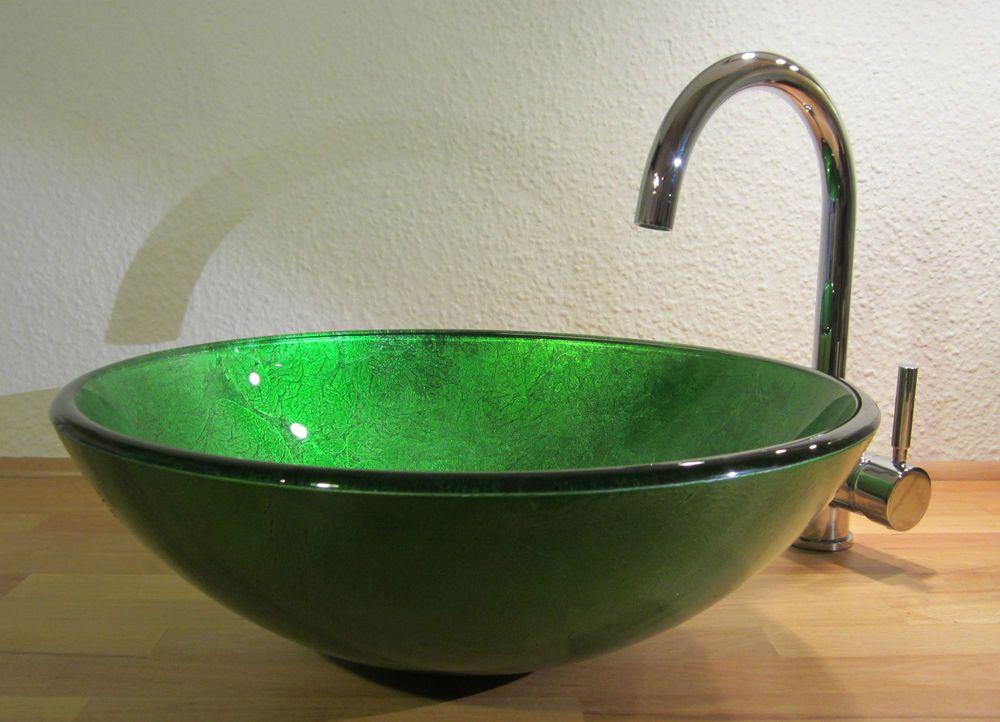 Aufsatz Glas Waschbecken Waschschale Waschtisch Gäste-WC Bad Antik grün rund