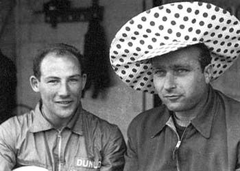 Stirling Moss and Juan M. Fangio
