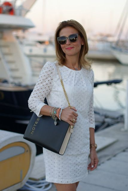 book lookalike bag, white lace dress, chic white look, Mango sangallo dress, Fashion and Cookies